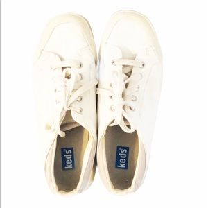 White Leather KEDS With Laces 8
